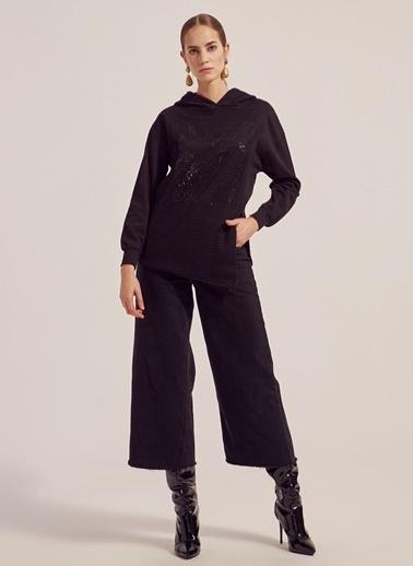 Monamoda Kapüşonlu Payet Fileli Sweatshirt Siyah